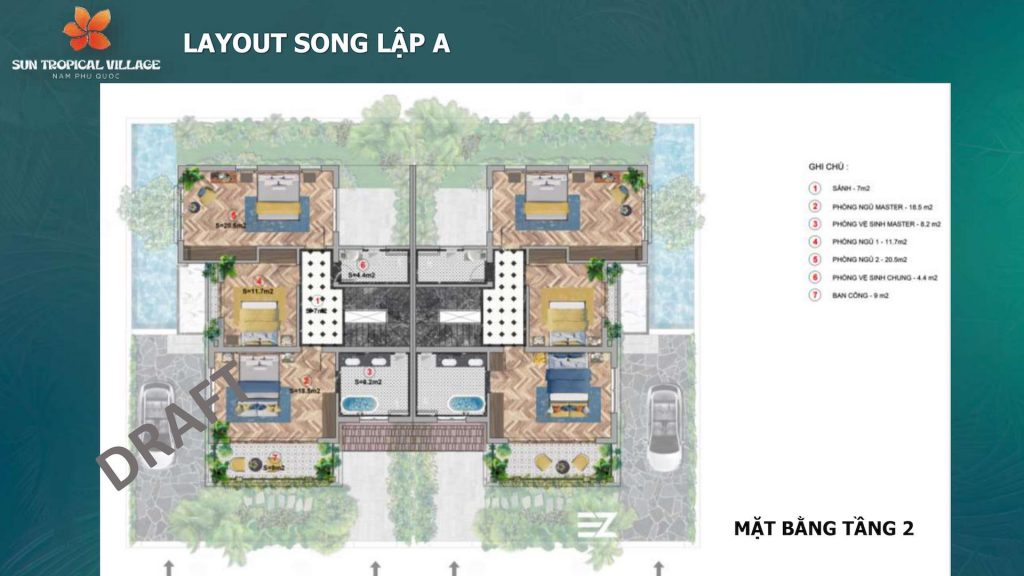 Layout SUn Tropical Village Song Lập Tầng 2