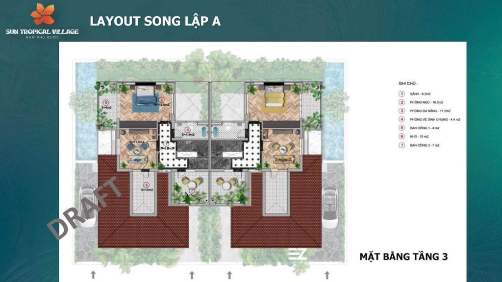 Layout SUn Tropical Village Song Lập Tầng 1